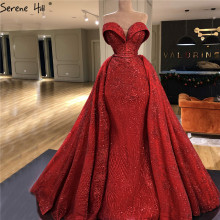 Red Sweetheart High End di Lusso Sparkle Abiti da Sera Dubai Off Spalla Sexy Abiti da Sera 2020 Serene Hill HM66578