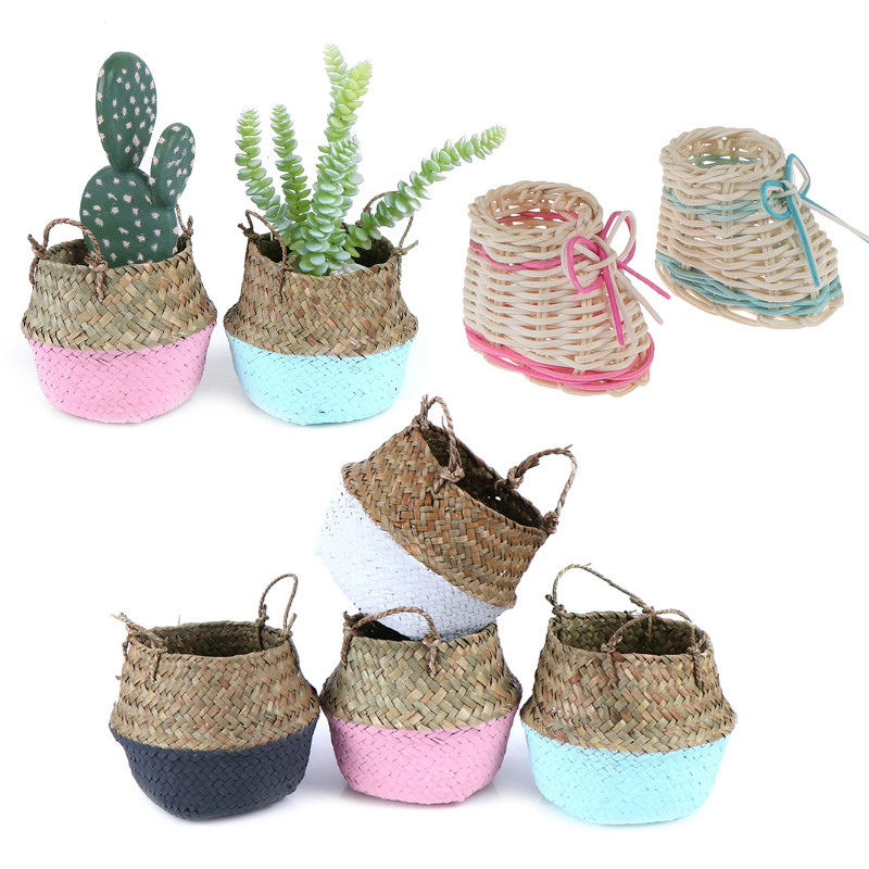 1 x Authentic Handmade Bamboo Storage Baskets Foldable Laundry Straw Patchwork Wicker Rattan Seagrass Belly Garden Flower Pot