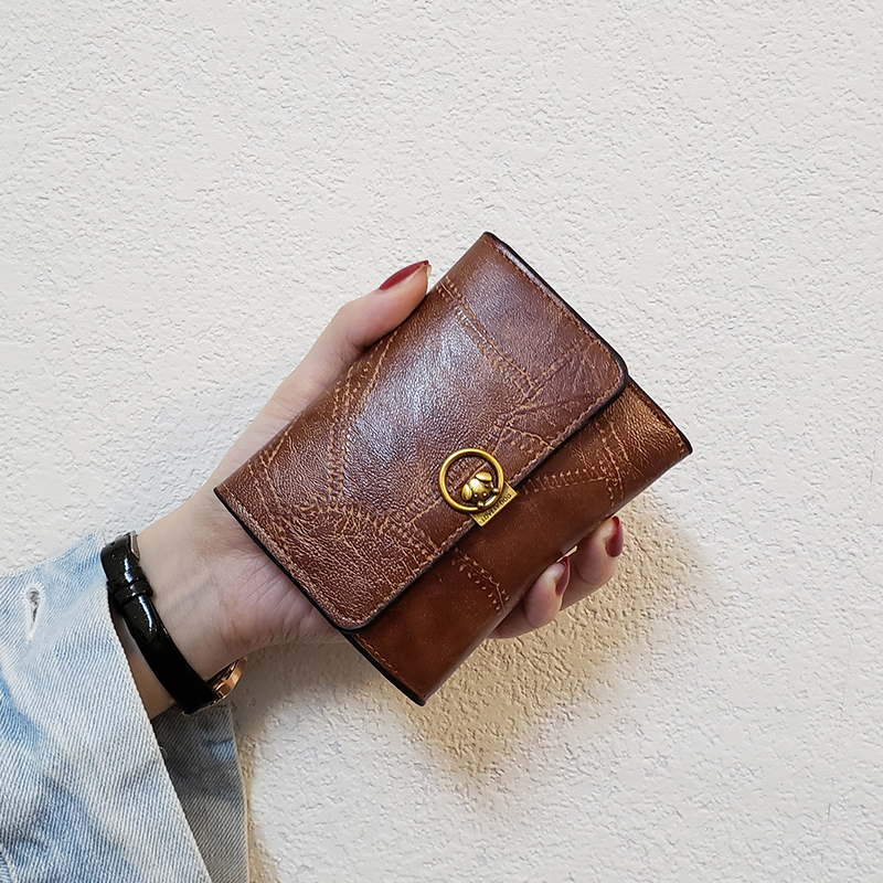 New Leather Purse Women Simple Tri-fold Women Wallets Slim Wallet High Quality Puppy Pattern Small Coin Pockets Purse Leather HJ