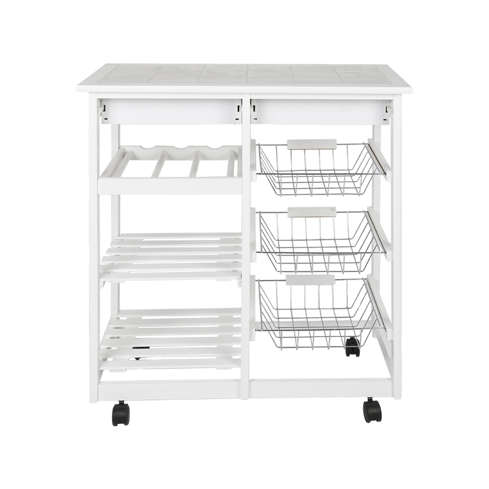 67cm Solid Pine Kitchen Trolley Moveable Dining Shelf Food Beverage Storage Rack Kitchen Cabinet with 2 Drawers Baskets HWC