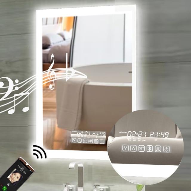 Dropshiping LED Smart Bathroom mirror High Lumen Adjustable Warm White Light bluetooth Anti Fog Dimmable Memory