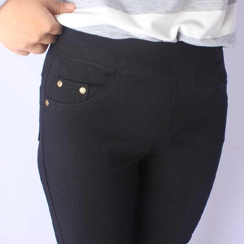 Clobee בתוספת גודל נשים של מכנסי עיפרון נשים בציר Capris לבן שחור כהה צבע נשי השפל מכנסיים Palazzo פורמליות מכנסיים
