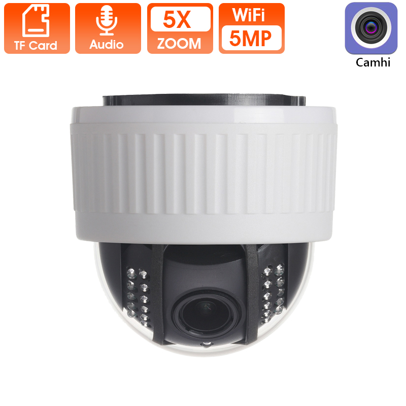 5X Zoom 2.7-13.5mm Indoor Wireless Rotate Dome PTZ IP WiFi Camera 5MP HD 2MP Audio Microphone SD Card IR Night Onvif P2P