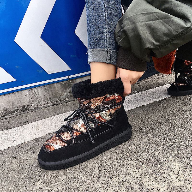 Women Cow Suede Warm Ankle Snow Boots Girls Casual Winter Fashion Wool Shoes Female Outdoor Flats Booties Sequins Dacing Wear