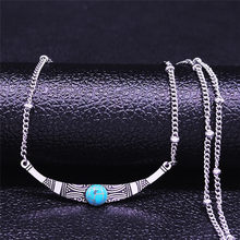 Bohemian Geometry Stainless Steel Natural Stone Charm Necklaces Silver Color Boho Necklaces Jewelry bijoux femme N4087S04