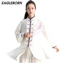 Novo tai chi vestido chinês conjunto para as mulheres kung fu roupas tradicionais chinesas para as mulheres pintados à mão ameixa wushu uniforme