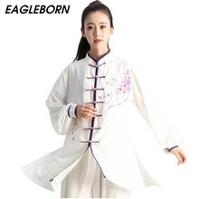 Yeni Tai Chi çin elbisesi kadınlar için Set Kung Fu çin geleneksel giysiler kadınlar için giyim el boyalı erik Wushu üniforma
