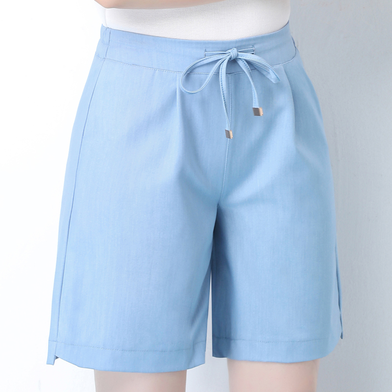 OUMENGKA Summer 2020 Blue Casual Women Shorts High Elastic Waist Solid Ladies Jeans Shorts Pocket Blet Loose Shorts S-4xl