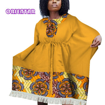 African Dresses for Women Bazin Riche African Print Patchwork Midi Dress with Tassel Bat sleeve Drawstring Casual Clothes WY4031