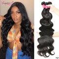 Longqi Hair малайзийские волнистые пряди 30 дюймов Пряди человеческих волос для наращивания волос Плетение волос 3 4 пряди натуральные черные нео...