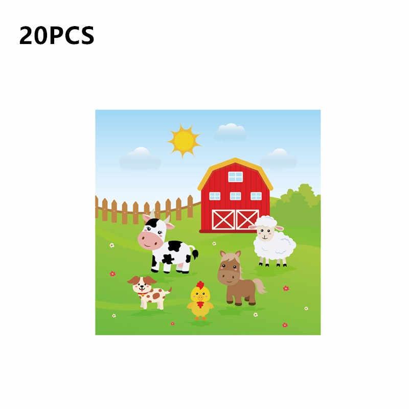 Animais de Fazenda Tema do Chuveiro do bebê Favores Do Partido Decorações com Conjuntos de Talheres Descartáveis Fontes do Partido de Aniversário Balão Dos Desenhos Animados