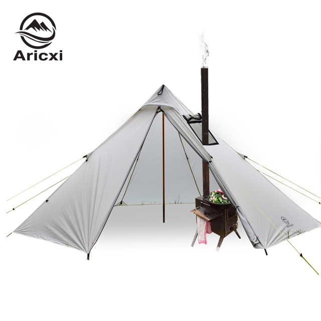 3-4 Person Ultralight Outdoor Camping Teepee 20D Silnylon Pyramid Tent Large Rodless Tent Backpacking Hiking Tents 2