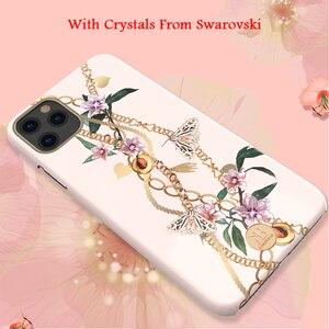 Image 4 - Оригинальный жесткий чехол Kingxbar для телефона с цепочкой и кристаллами Элементы для Apple iPhone 11/ Pro/ Max роскошный чехол накладка с полной защитой