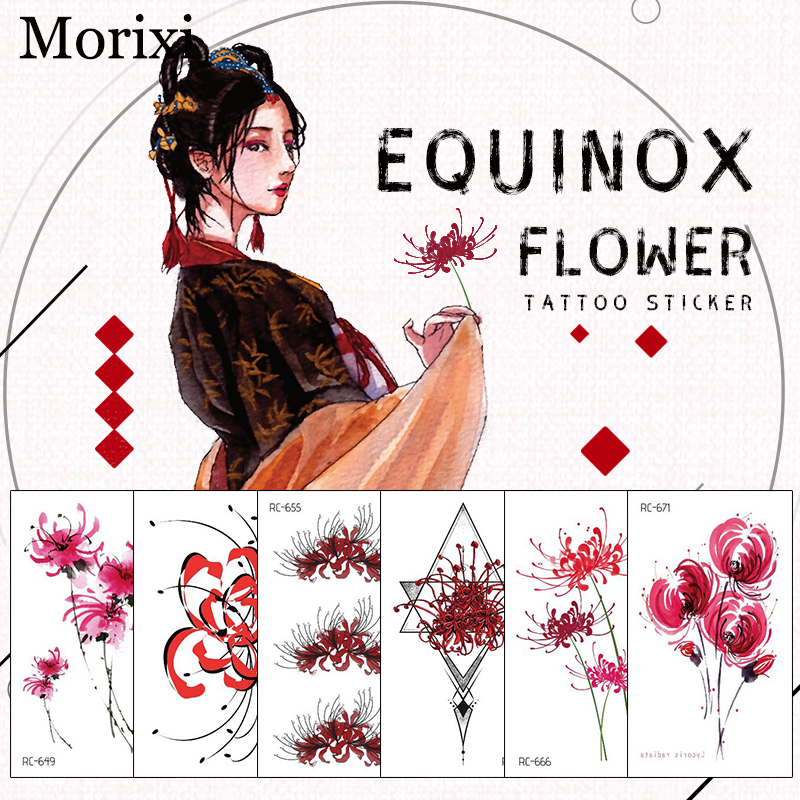 Equinox Flower Tattoo Sticker For Body Decoration Rose Pink Flower Pattern Water Transfer Temporary Tattoo Sticker RA068
