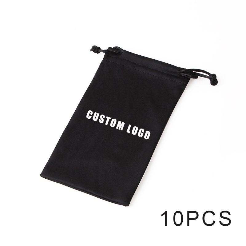 10pcs Soft Microfiber Drawstring Pouch Sunglasses Glasses Women Men Cloth Bag Case Protector Customized LOGO Eyewear Accessories