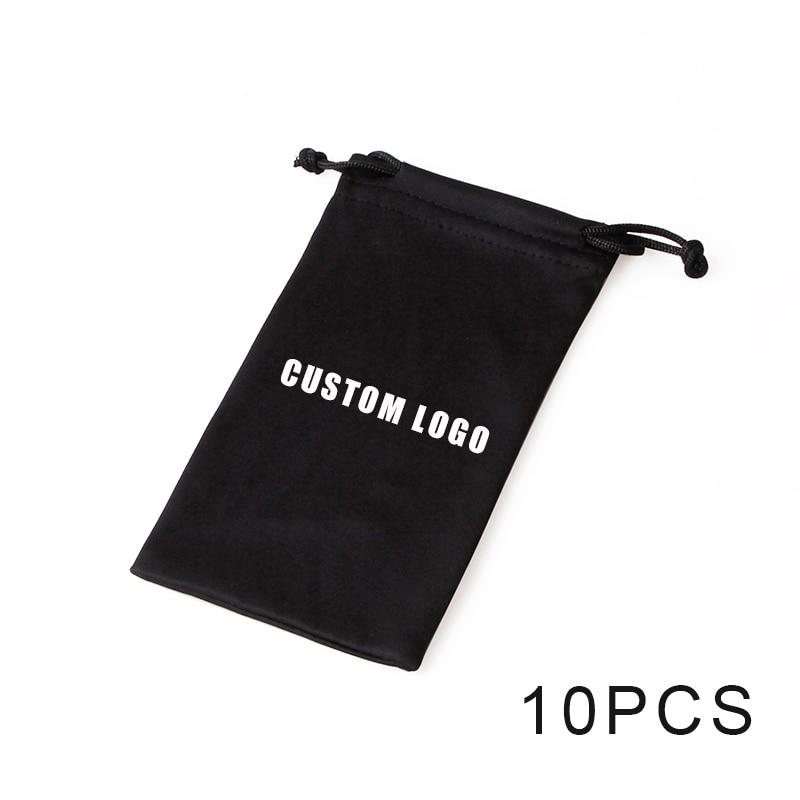 10pcs Soft Microfiber Drawstring Pouch Sunglasses Glasses Women Men Cloth Bag Case Protector Customized LOGO Eyewear Accessories