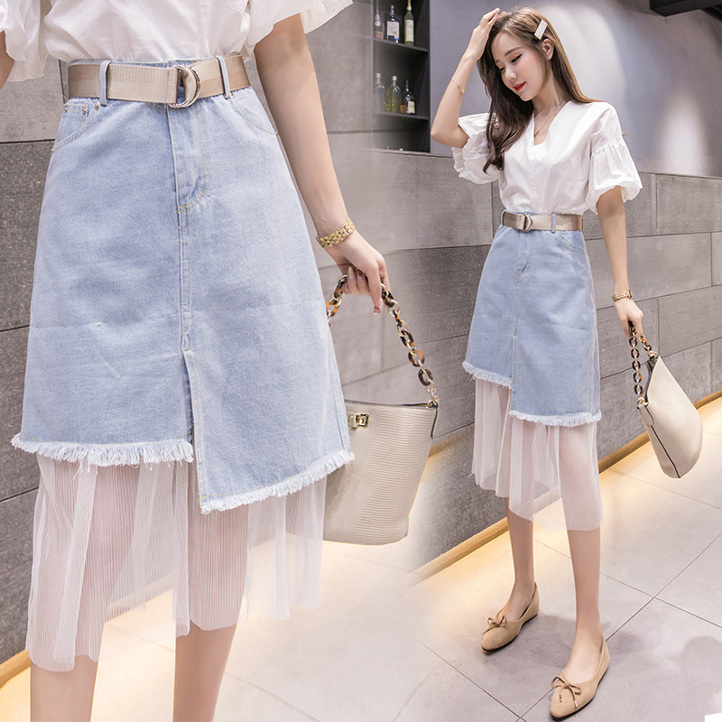 Large Size Four Seasons Paragraph WOMEN'S Dress A- Line With Holes Denim Skirt Lace Joint Over Knee Mid-length Half-length
