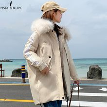 PinkyIsBlack Fashion Winter Jacket Women Big Fur Hooded Thick Down Parkas Long Female Jacket Coat Slim Warm Winter Coat Outwear стоимость