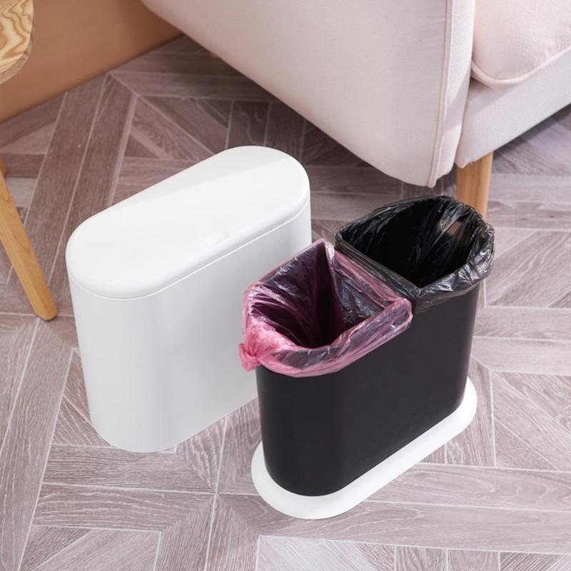 Pressing Type Waste Bin Plastic Trash Can Household Flip Cover Portable Garbage Bin Storage Bucket Household Merchandises