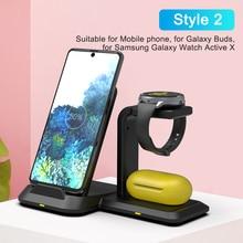 Caricabatterie Wireless Qi 3 in 1 per Samsung Galaxy S10 Plus S9 S8 S20 supporto per caricabatterie Wireless per Galaxy Watch attivo per Galaxy Buds
