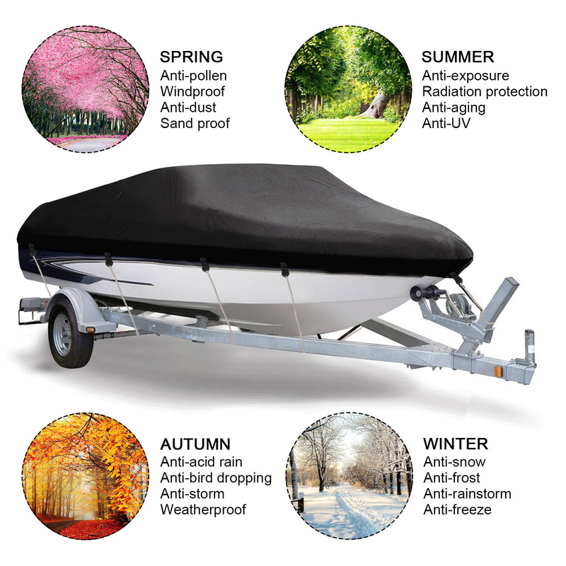 420D couverture de bateau remorquable imperméable à l'eau de pluie poissons-ski v-coque protecteur UV résistant au soleil bandes imperméables amarrage de bateau à moteur couvre D40 - 3