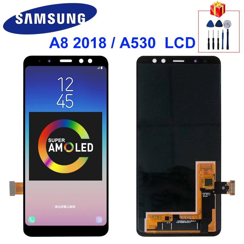 Super AMOLED For Samsung Galaxy A8 2018 LCD A530 Touch <font><b>Screen</b></font> Digitizer Assembly <font><b>A530f</b></font> A530N Display <font><b>Screen</b></font> <font><b>Replacement</b></font> Parts image