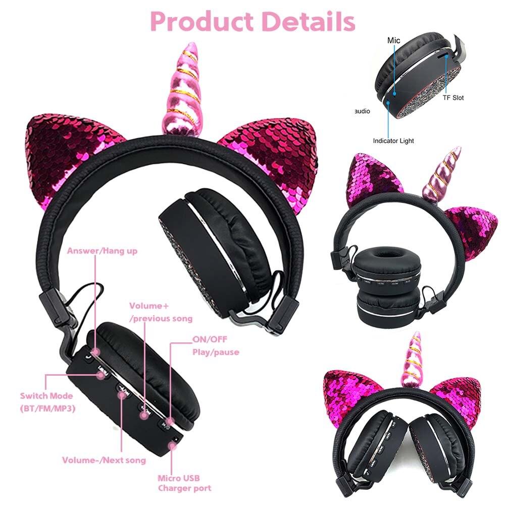 E6334 unicorns cat ear headphone (7)