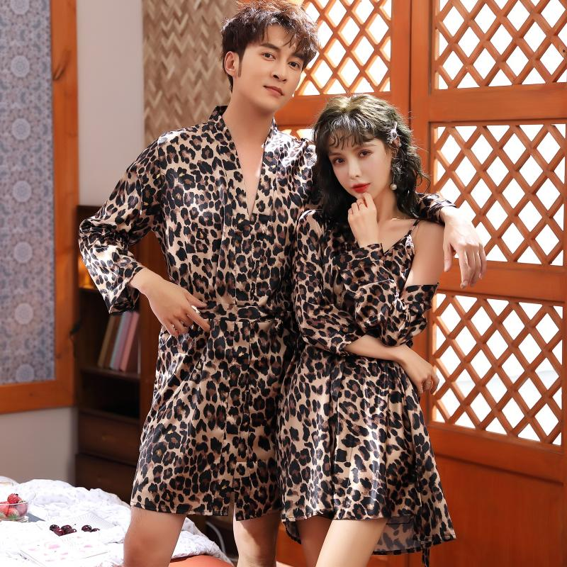 Leopard Men's Satin Silk Robe With Belt Kimono Bathrobe Gown Nightgown Sleepwear Home Leisure Pajamas Wedding Honeymoon Hotel
