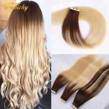 Ombre bant Remy İnsan saç uzatma gerçek doğal insan saçı yapıştırıcı saç ekleme Ombre sarışın dikişsiz bant saç