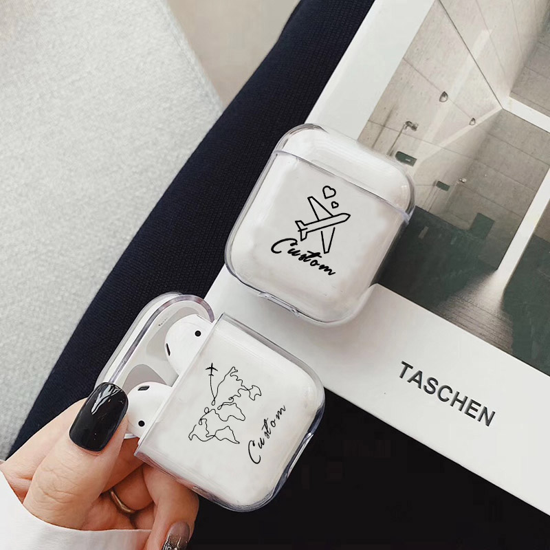 Trip Soft Earphone Case For Apple Airpods 1/2 Protective Cover DIY Custom World Map Clear Earphone Case For Airpods Accessories
