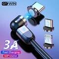 Магнитный USB-кабель GTWIN 3A для быстрой зарядки, вращающийся на 540 градусов, магнитное зарядное устройство 2 м для IPhone, Xiaomi, Samsung, кабель Micro USB Type-C,...