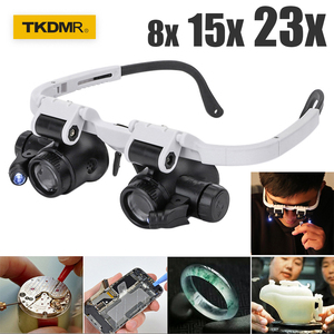 Magnifying glass Glasses loupes Magnifier eyewear with LED lighting Watch Repair 8x 15x 23X Dual Eye Jewelry Loupe Lens new(China)