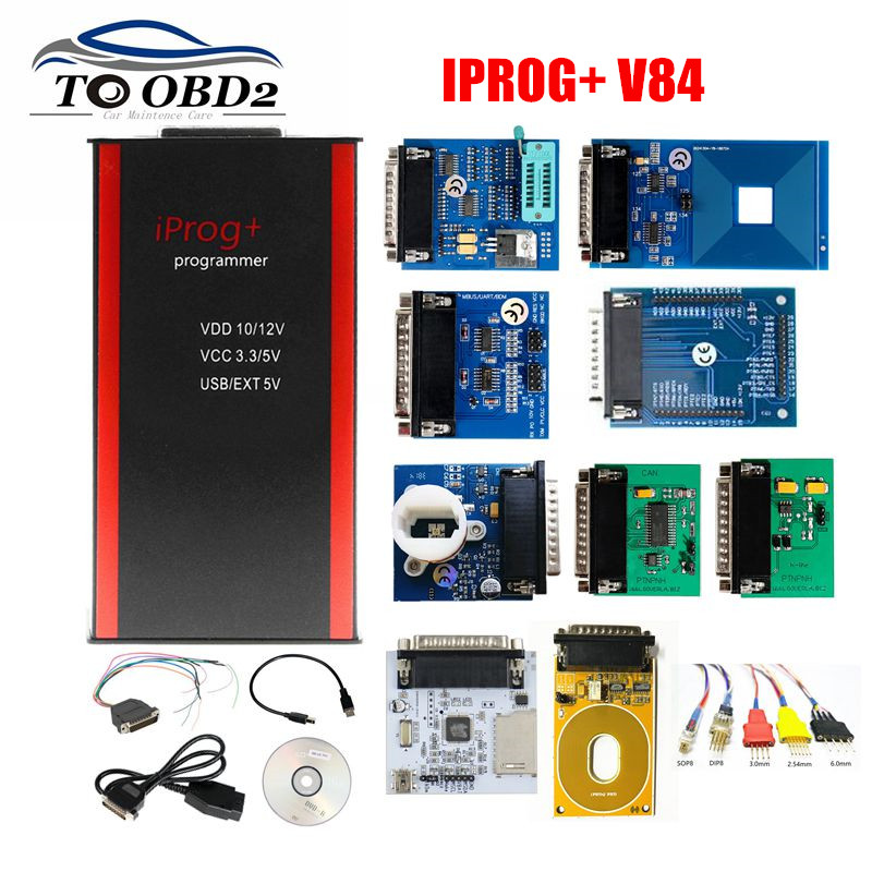 2020 V84 IPROG  IProg i Prog 84 Programmer with CAN BUS K-LINE MB IR RFID PCF79XX Supports IMMO Mileage Correction Airbag Reset