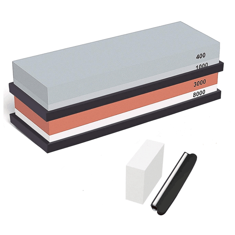 Complete Knife Sharpening Stone Set 400/1000 <font><b>Grit</b></font> Water Stone, <font><b>3000</b></font>/<font><b>8000</b></font> <font><b>Grit</b></font> Water Stone, Best Whetstone Knife Sharpener, Flatt image
