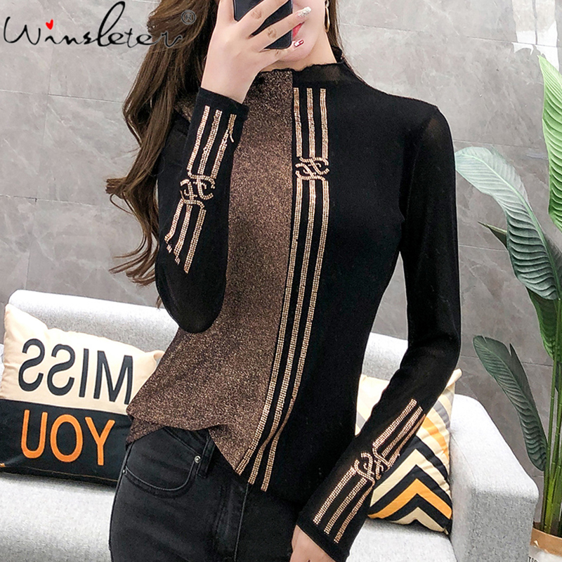 Fashion Shiny Diamonds T-shirt Women Color Block Turtleneck Long Sleeve Tshirt Casual Autumn Fall Clothing For Women T07626B 1