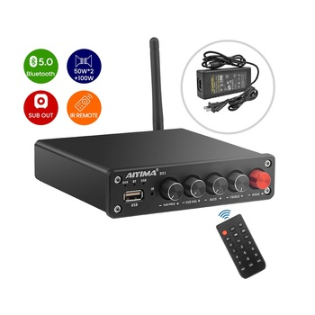 AIYIMA B01 Bluetooth Sound Amplifier Subwoofer Power Amplifiers HIFI Digital Stereo Amp USB Player 2.1 Channel Remote Control