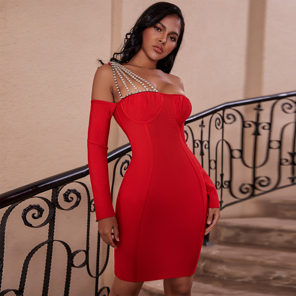 Ocstrade Sexy One Shoulder Bandage Dress 2020 Women Embellished Red Long Sleeve Bandage Dress Bodycon Evening Party Club Dress