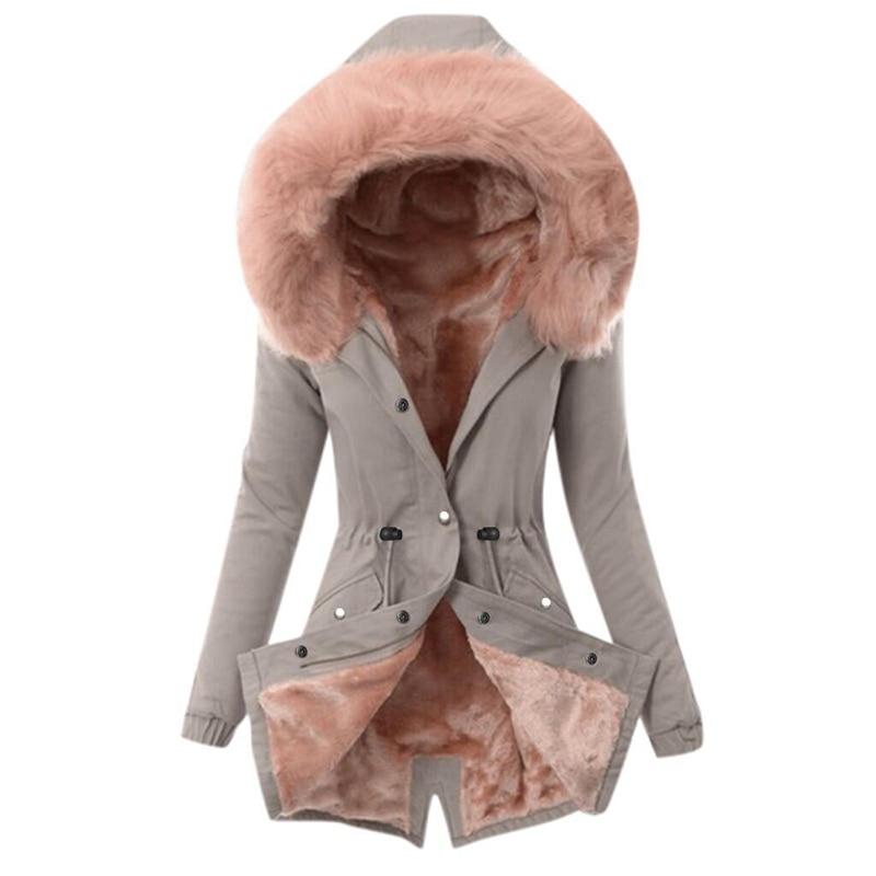 SWQZVT Hot Sale Fur Collar Winter Coat Women Solid Color Sashes Casual Warm Cotton Coat Women Jacket Hooded Women Parkas (2)