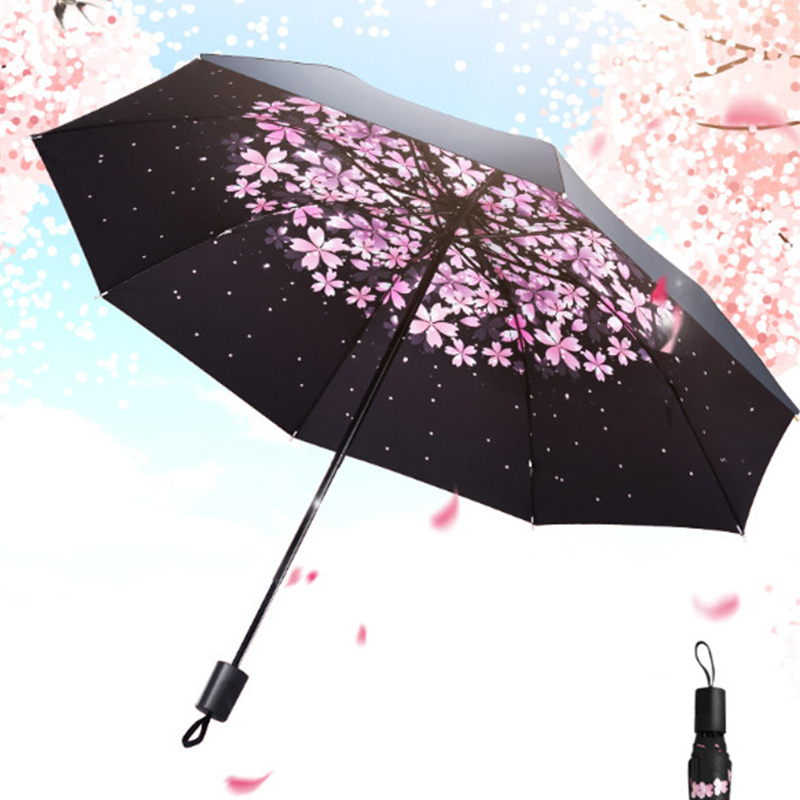 Black Coating Parasol Small Folding Umbrella Rain Wind Resistant Folding Automatic UmbrellaWaterproof Portable Travel Umbrellas