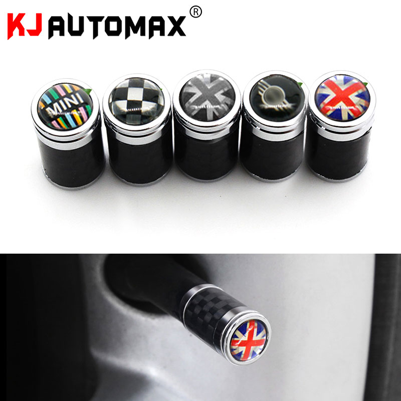 KJAUTOMAX For <font><b>Mini</b></font> Cooper <font><b>CarBon</b></font> fibre F55 F56 F60 Tire Air Valve Cover 4pcs/set <font><b>R53</b></font> R55 R56 R60 R61 image