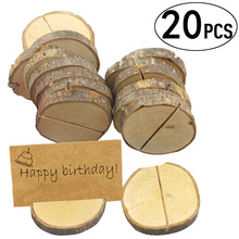 Clip-Holder Table-Number Wood-Base Wedding-Decoration for 20pcs Picture Message-Card