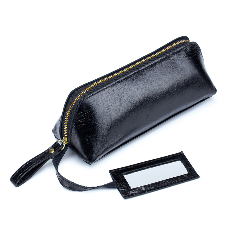 Lipstick Case Mini With Mirror Small Make-up Bag Brand Women Genuine Leather Mouth Red Jewelry Wallet Fashion Portable