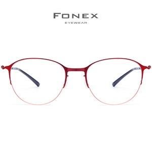 Image 2 - Fonexチタン合金メガネ男子ラウンド処方眼鏡フレーム女性近視光学フレーム韓国ネジなし眼鏡 98612