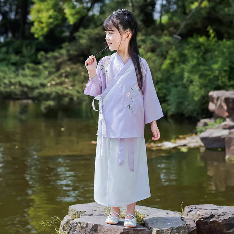 New Style Girls Chinese Clothing Chinese-style Children Chinese Clothing Ancient Costume Short Sleeve Embroidery Little Girl Sum