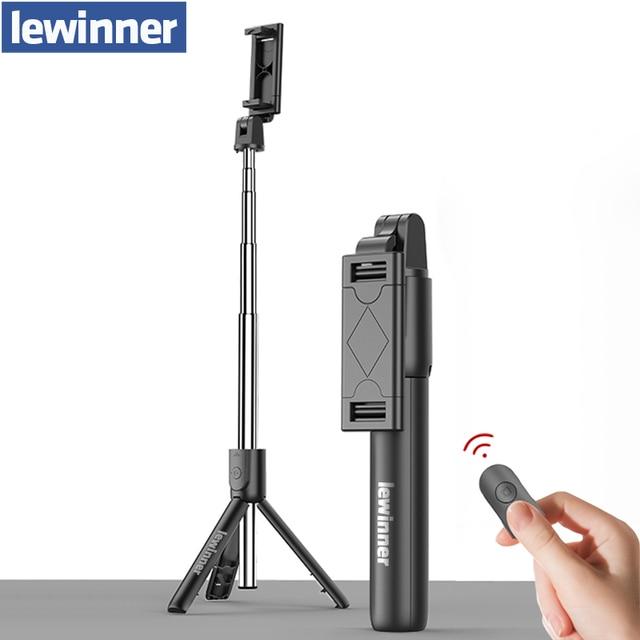 Lewinner tudo em 1 sem fio bluetooth selfie vara mini tripé extensível monopod universal para iphone, android