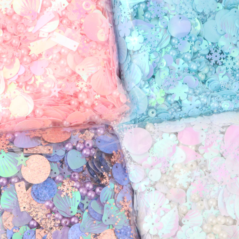 Mix Sequins Multi Shape Mix Colors Paillettes  Pearl Heart Snowflake Star Shell Round Shape Sequin For Craft With 1 Hole 20g