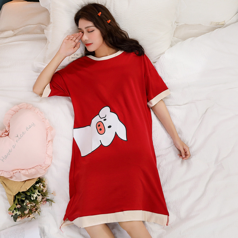Short Sleeve Nightgown Women's Summer Nightgown Wine Red/white Pigskin M-XXL (15 Yuan) New Style Home-feeding Image