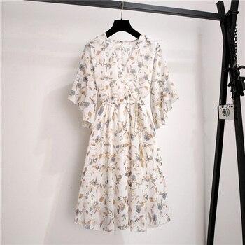 Spring Summer Chiffon Dress Women Knee Length V-Neck Print Dresses Sweet Ruffle Sleeeve Slim New Casual Drawstring Women Dress 4