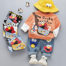 Baby Boys Sets Tops Pants 2PCS Cartoon Sesame Street Outfits Toddler Yellow White Clothes Sportswear Sweatshirt Suits(China)