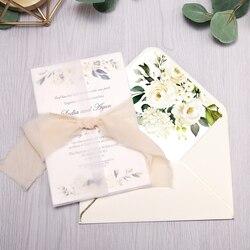 1 pces convites cartões nupcial, convite do chá de fraldas, aniversário, convites do jantar, bolso rosa com flor